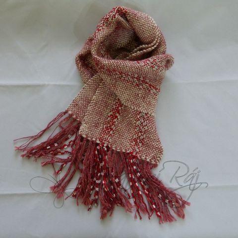 Červená tkaná šála z ručně předeného merina 41163719fb